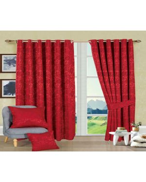 Revola Burgundy Jacquard Heavy Curtains Eyelet With Pair Tiebacks