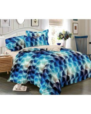 Printed Design Effect 4 Piece 3D Duvet Cover Complete Bedding Set With Fitted Sheet & Pillowcase