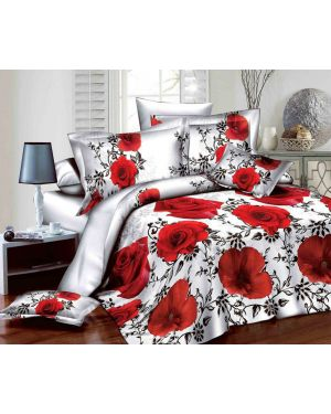 4 Pieces 3D Quilt Cover Duvet Set Complete Bedding Set with Fitted Sheet Pillowcase