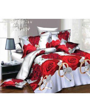 3D 4 Piece Duvet Quilt Cover Red Floral Prints Complete Bedding Set