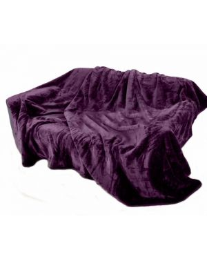 kembe Aubergine mink throw sofa bed comforter