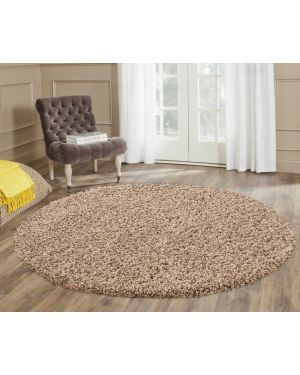 Ashely Solid Plain Beige Round Center Piece Rug