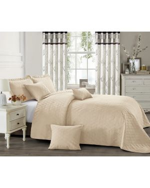 Beige horsen heat pressed bedspread with pillow shams