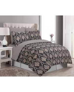 Sopron cotton complete bedding set printed design Black Brown