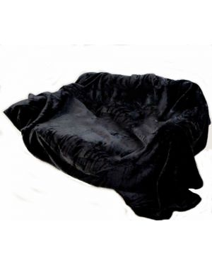 kembe Faux Silk Black mink throw sofa bed runner
