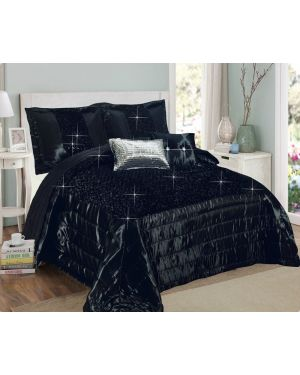 Balathy Black fully sequence bedspread with pillow shams