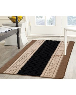 Stripe Design Montagu Gel Backed Black Beige Rug Runner