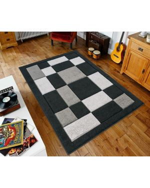 Sassui Rug Carpets Geometric Square Design Runner Floor Mat in Black Grey