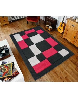 Black Red Sassui Rug Carpets Geometric Square Design Runner Floor Mat