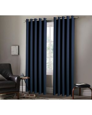Heavy Insulated Thermal Arlesa Blue Curtain Ring Top Eyelet Room Blackout Curtain Panels