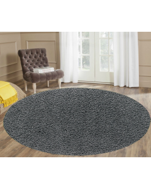 Ashely Non slippery Dark Grey Round Center Piece Rug