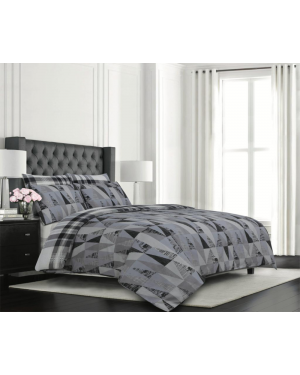 Sopron cotton complete bedding set printed design Dark Grey