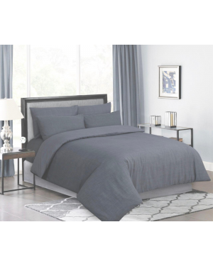 Sopron cotton complete bedding set printed design Dark Silver