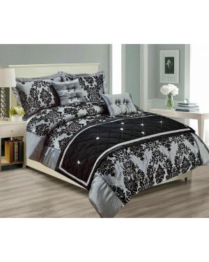 Kambar Damask Printed Duvet Cover Bedding Set and Pillowcase
