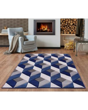 Modern Geometric Design Blue Grey area Rug Runner