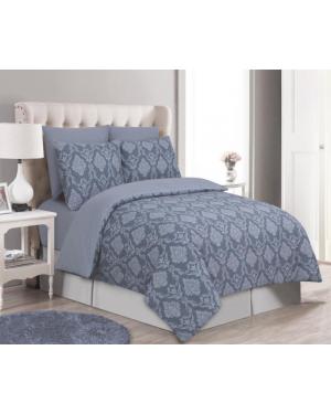 Sopron cotton complete bedding set printed design Grey Silver