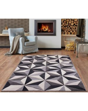 Grey Beige Tyson Bright Vibrant Rug Carpet