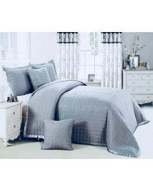 Grey Massango plain dyed bedspread with pillow shams