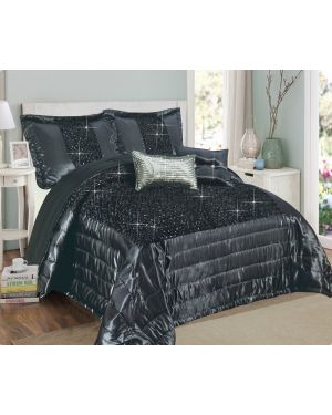 Balathy Grey fully sequence bedspread with pillow shams