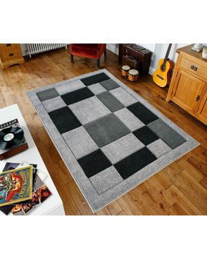 Grey Black Sassui Rug Carpets Geometric Square Design Runner Floor Mat