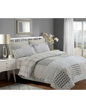 Sopron Complete Cotton Bedding Set Printed Design Silver Light