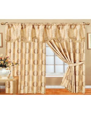 Coffee Glitter curtains pair pencil pleat ready made with pelmet and tieback