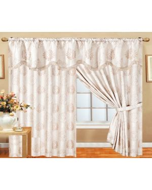 Cream Benjo Glitter curtains pair pencil pleat ready made with pelmet and tieback