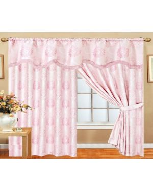 Pink Glitter curtains pair pencil pleat ready made with pelmet and tieback