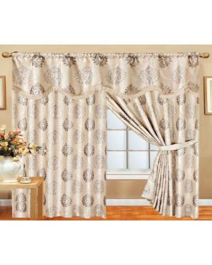 Stone Glitter curtains pair pencil pleat ready made with pelmet and tieback
