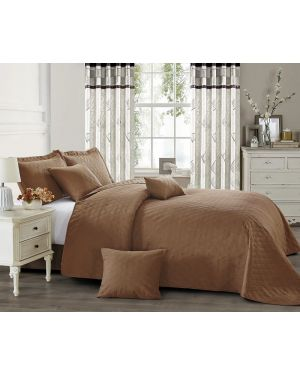 Mocha horsen heat pressed bedspread with pillow shams