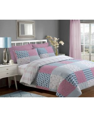 Sopron Complete Cotton Bedding Set Printed Design In Pink Colour