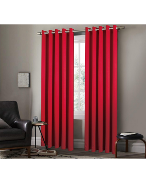 Heavy Insulated Thermal Arlesa Red Curtains Ring Top Eyelet Room Darkening Curtain Panels