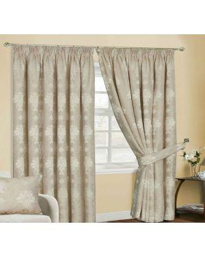 Empire jacquard pencil pleat beige curtains with tiebacks