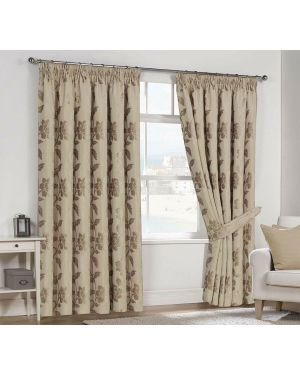 Lisa Pencil Pleat Ready Made Fully Lined Curtains With TieBacks