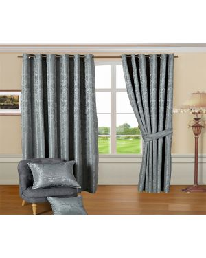 Revola Silver jacquard Heavy curtains eyelet with pair tiebacks