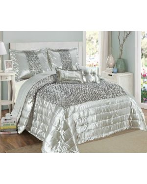 Balathy Silver fully sequence bedspread with pillow shams