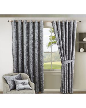 Prado Curtains Pair Ring Top Heavy Crushed Velvet and Fully Lined