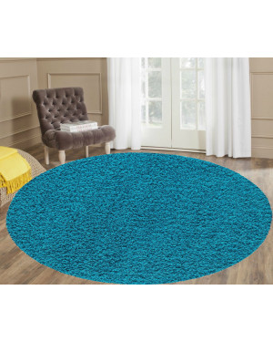 Ashely Teal Round Center Piece Water Resistant Rug