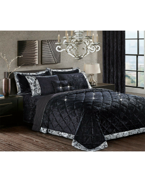 Caconda Black Crushed velvet bedspread with pillow shams