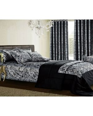 Black Lubango jacquard bedspread with pillow shams