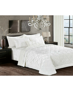 Caconda White Crushed velvet bedspread with pillow shams