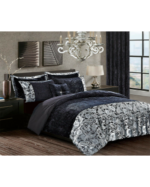 Black Crushed velvet soyo Duvet Cover Set