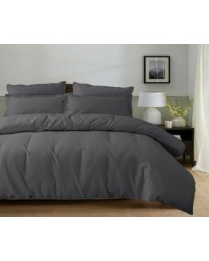 3 Piece lyn Grey Duvet Quilt Cover Bedding Set 100% Cotton with Pillow Cases