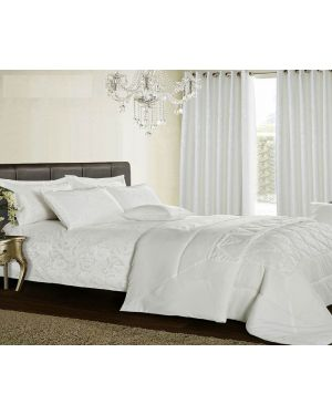 White Lubango jacquard bedspread with pillow shams