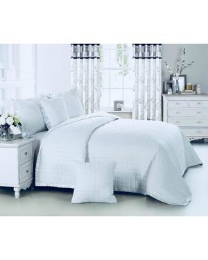 White Massango plain dyed bedspread with pillow shams