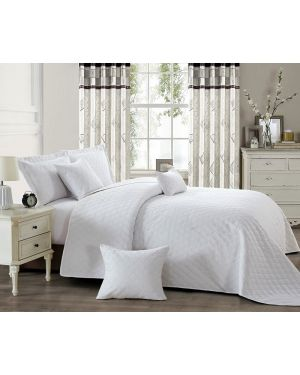 Horsen White heat pressed bedspread with pillow shams