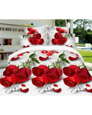 Complete Bedding Set Fitted Sheet 4 Piece 3D Design Effecct Duvet Cover with  Pillow Cases
