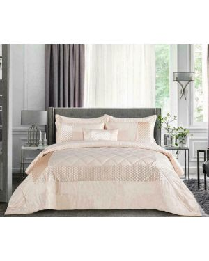 Bangui Beige 3 Piece Sequin Pattern Bedspread/Comforter With Pillow Shams