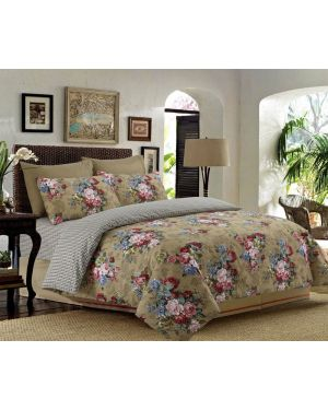 Sopron Complete Cotton Bedding Set Printed Design in Beige