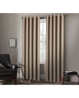 Ring Top Blackout Curtain Panels Heavy Insulated Thermal Arlesa Beige Curtains